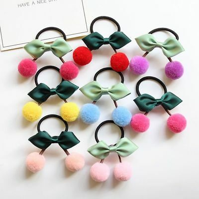 Hair Holder 2pc/lot Leaf Ties Bands Ropes Ponytail Ball Pom Accessories For Girl
