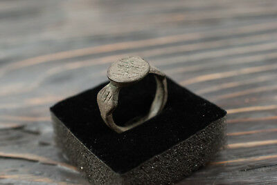 Antique Medieval Ring Ancient Bronze Ring with Ornament c.15th-16th century