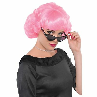 Frenchie Pink Pig Wig Bangs Bob Curled Ends Adult Womens Fancy Dress Costume