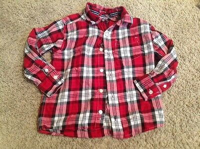 The Children's Place Boys Red White Black Plaid Button Down Shirt 4 Collar