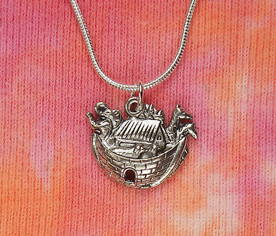 Noah's Ark Necklace, Old Testament Bible Stories Pewter Charm Pendant Jewelry