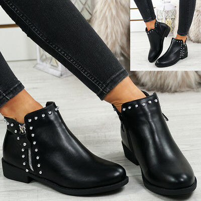 Womens Ladies Low Block Heel Ankle Boots Side Zip Studded Punk Shoes Size Uk