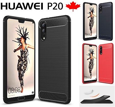 Fits Huawei P20 / Pro Lite - Carbon Fiber TPU Armor Heavy Duty Phone Cover Case