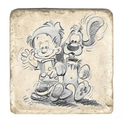 Plaque de marbre de collection Boule & Bill En Balade (10x10cm)