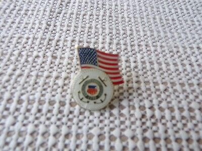 Us Coast Guard Emblem With American Flag On Top Hat/lapel Pin