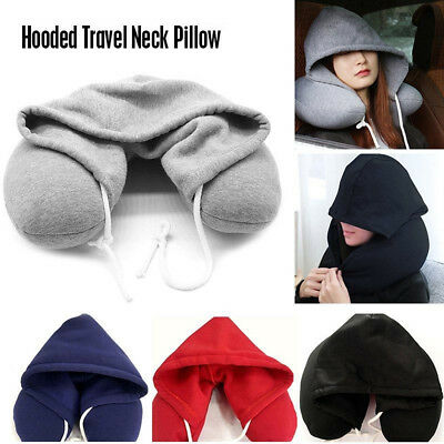 Soft Comfortable Hooded Neck Travel Pillow U Shape Airplane Pillow Hoodie EUF