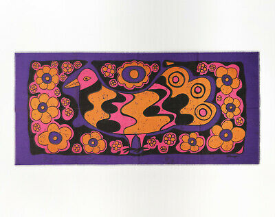 Vintage XL 1960s Flower Power Psychedelic Dove Fabric Wall Hanging - Signed