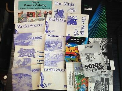 Sega Master System / Game Gear Instruction Manuals Only and Posters Bundle Lot