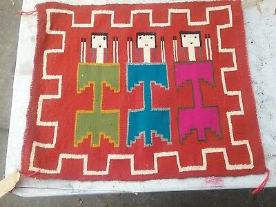 Vintage Navajo Rug 12 Year Old Girl's First Attempt at Weaving a Figural Rug