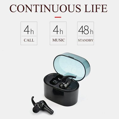 1 Pair Wireless Bluetooth Earphones Stereo Handsfree Earbuds with Charging Bo NP