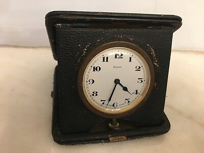 Antique Swiss Made Leather Bound Travel Clock As Found.