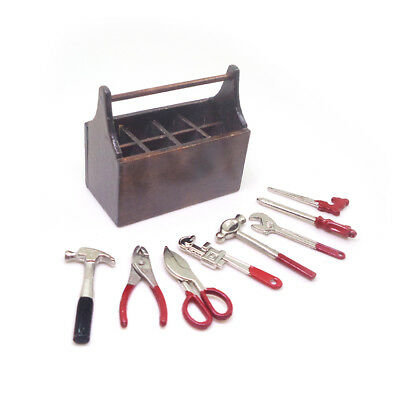 1//12 Dollhouse Miniature Wooden Box with Metal Tool Set Y6M7