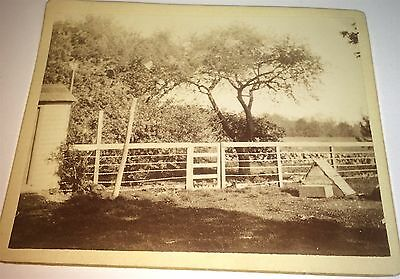 Antique American Farm Fence Outdoor Landscape Rock-Wall! Old Small Cabinet Photo
