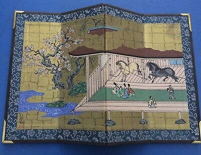 Vintage Small Ornamental Japanese Bonsai Decorative Folding Display Screen