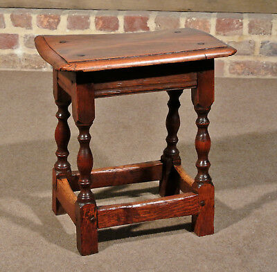 Lovely 17th Century Joined Fruitwood Stool
