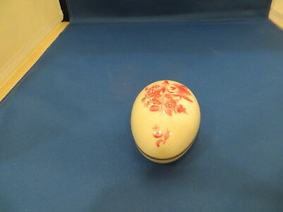 Herend-Hungary Chinese Bouquet Pink/Purple? EGG shape covered box Hand Painted