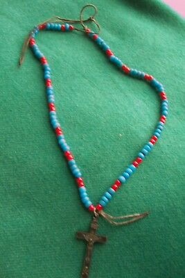 BLUE PADRE Old TRADE BEAD NECKLACE with ANTIQUE CROSS CRUCIFIX  with SKULL BONES