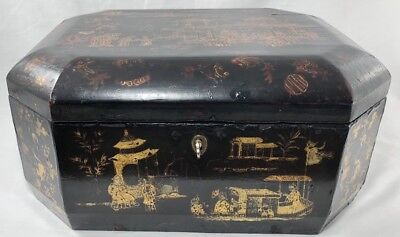 Vintage Chinese Hand Painted Lacquered Wood Box Stunning Detail!!