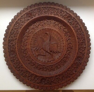 Vintage/Antique Large Hand Carved Wooden Plate (Believe to be French? / Breton?)