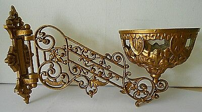 Antique Victorian Gypsy Oil Lamp Wall Bracket Holder/Sconce Gold Coloured