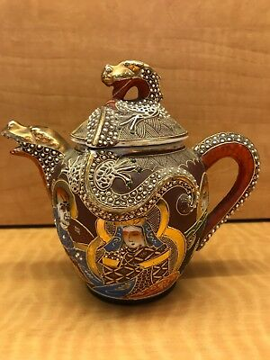 Vintage Japanese Satsuma Moriage Dragon Tea Pot