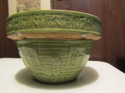 33/4 T Vintage Bowl Green  Girl Watering Flowers Outside Of Bowl Usa 166
