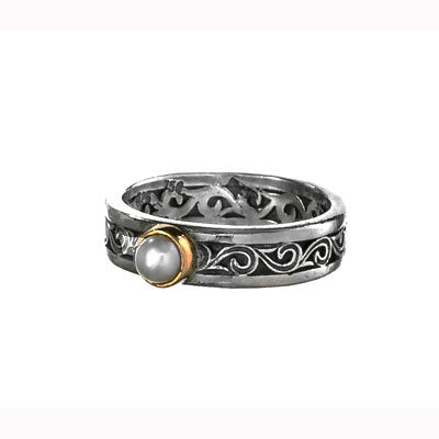 Gerochristo 2781N ~ Solid Gold & Silver with Pearl Medieval-Byzantine Band Ring