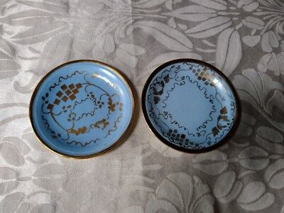 2 Cumbow China Butter Pat Small Plate Handpainted Blue & Gold Luster Abingdon Va