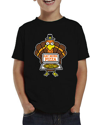 Eat More Pizza Turkey Funny Thanksgiving Pun Cute Holiday Infant Toddler T-Shirt