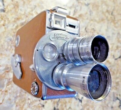 Keystone Olympic Turret 8 Model K-35 Movie Camera w/Brown Leatherette Cover/Case
