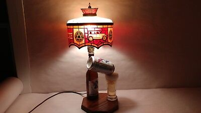 Vintage PBR Pabst Blue Ribbon Beer Lamp Unique W/ Dodge Brothers Lampshade