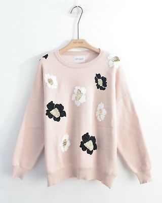 Pretty Floral patch soft knit jumper top in black grey pink color Christmas gift