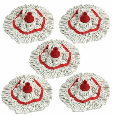 Colour Coded Mop Head Hygienic Cleaning Looped Yarn Cotton Mop Socket RED x 5