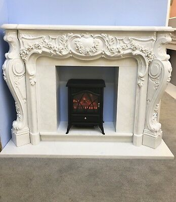 Bespoke Solid Marble Rose Fireplace Fire Surround Hand Carved Amazing  Mantle