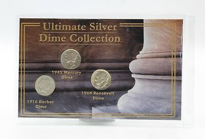 The Ultimate Silver Dime Collection 1916 Barber, 1945 Mercury, & 1964 Roosevelt