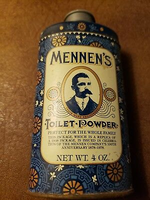 Old 1910s Advertising Talcum Powder Tin Mennen Toilet powder Blue with man image