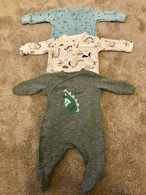 Next Newborn Baby Boys Dinosaur Sleepsuits