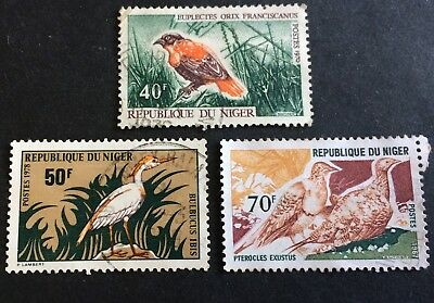 Birds - Niger - 3 nice used stamps