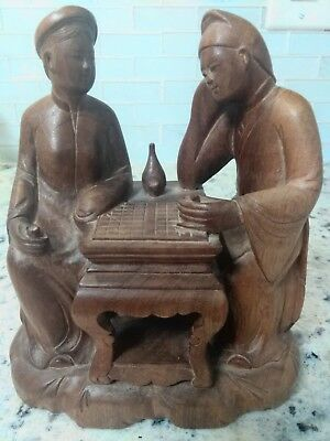 Vintage Asian Wooden Carving ~ Couple Playing Chinese Chess