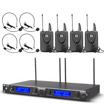 UHF Wireless Microphone System 4 Channel 4 Lavalier 4 Headset Pro Audio