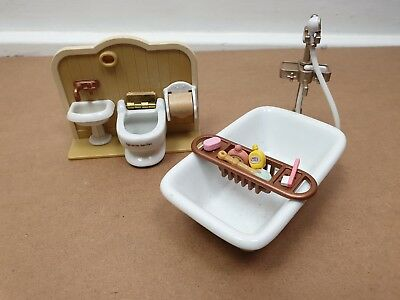Sylvanian Families Sink Bath Tub Toilet Seat Bathroom Set