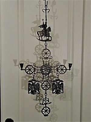 GREEK ORTHODOX St GEORGE BRONZE BYZANTINE CROSS CANDLE SCONCE vintage