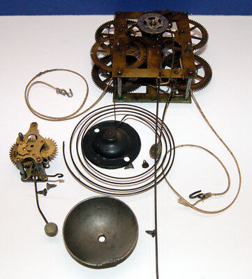 WORKING Antique NEW HAVEN Thirty 30 Hour Weight Driven Wall Clock MOVEMENT etc