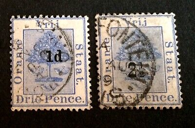 Oranje Vrij Staat - Oranje Free State - Drie P. 2 old used stamps with overprint