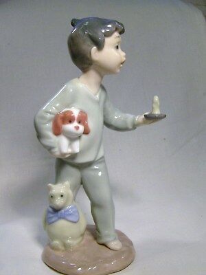 LLADRO/NAO Young Boy With a Candle and his puppy and Teddy bear