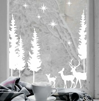 Christmas Stag Forest Scene White Cling Vinyl Window Decal
