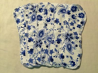 Set/12 Reusable Menstrual Panty liners  Momma Cloth (Lay-in Style) Blue Floral