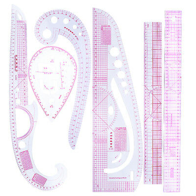 6 Stlyes Acrylic Fashion Metric Ruler Set French Curve Ruler Grading Ruler