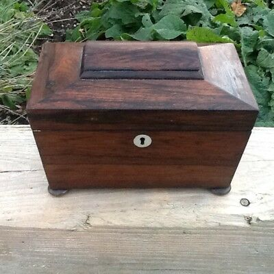 Victorian Rosewood Tea Caddy All Complete Feet Inner Lids Silver Lining Etc.