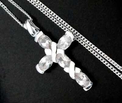 Birthday Day Gift Ladies 925 Silver Gem  Cz Cross Crucifix  Pendant Necklace